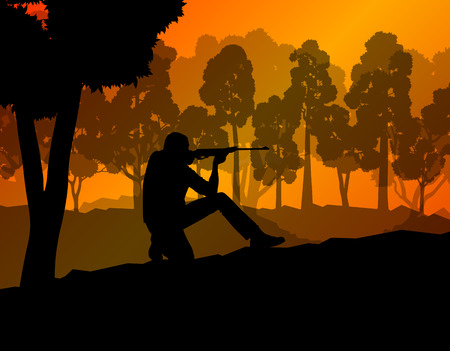 Hunter silhouette background landscape vector concept with forest for poster