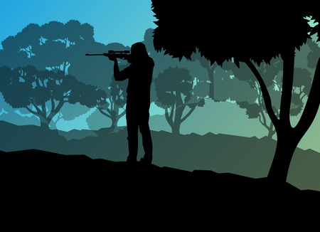 hunter man: Hunter silhouette background landscape vector concept with forest for poster