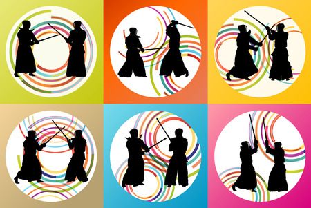 warrior pose: Active japanese Kendo sword martial arts fighters sport silhouettes set vector