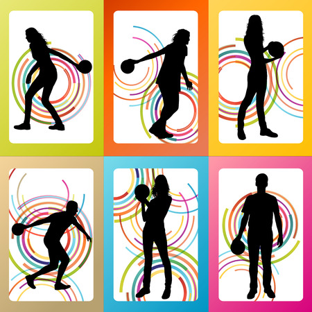 bowling alley: Bowling player silhouettes vector set background concept
