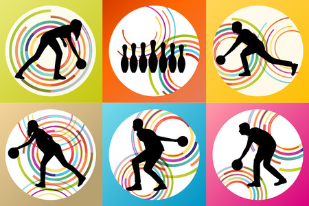 alleys: Bowling player silhouettes vector set background concept