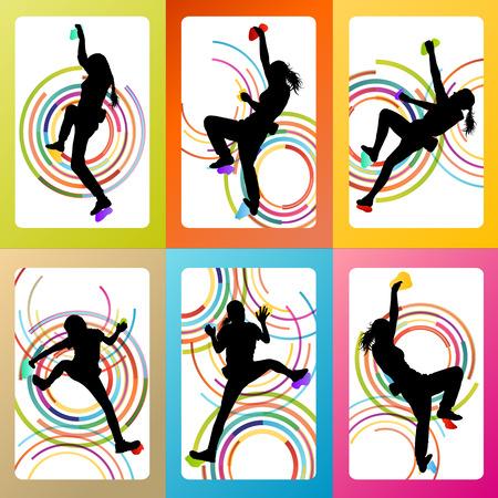 Girl climbing rock wall set vector background concept for poster Vectores