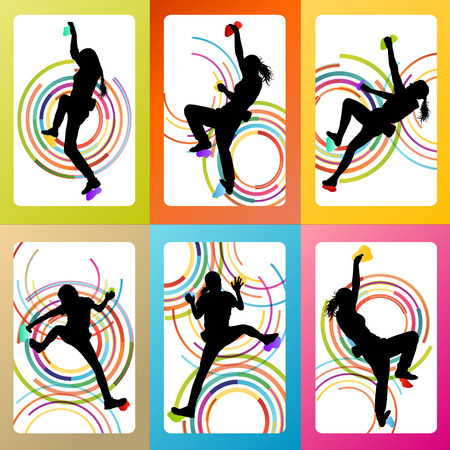 Girl climbing rock wall set vector background concept for poster Çizim