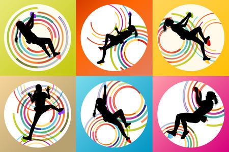 ascent: Girl climbing rock wall set vector background concept for poster Illustration