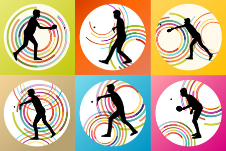 frolic: Table tennis player silhouette ping pong set vector background concept for poster