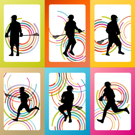 lax: Lacrosse player in action vector background set concept Illustration