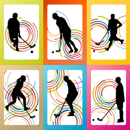 Floorball player vector background set concept for poster