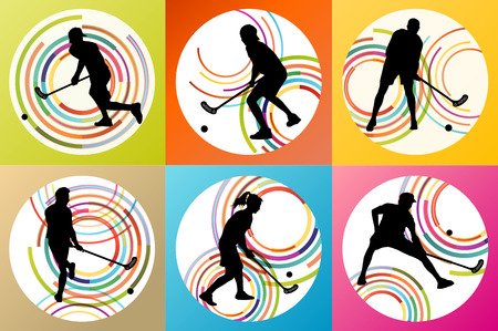 Floorball player vector background set concept for poster Vector