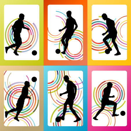 football silhouette: Soccer football player silhouette vector background set for poster