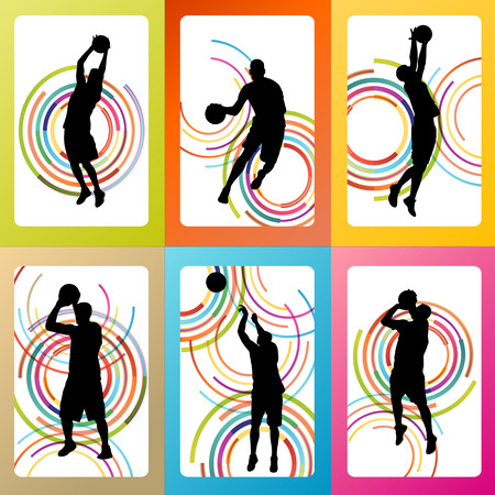 rebound: Basketball woman player vector background set concept for poster Illustration