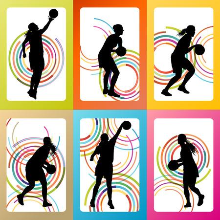 baloncesto chica: Mujer del jugador de b�squet del vector conjunto de antecedentes concepto