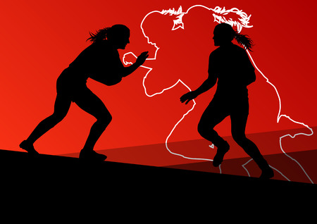 rugby player: Rugby player active young women sport silhouettes abstract background vector illustration