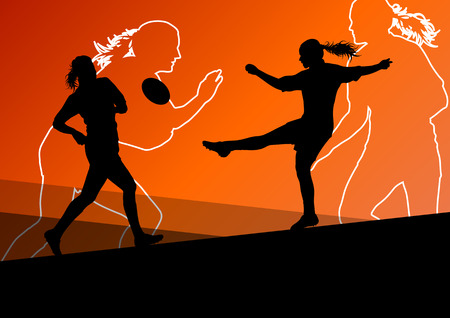 fiatal nők: Rögbi játékos aktív fiatal nők sport sziluettek absztrakt háttér vektoros illusztráció