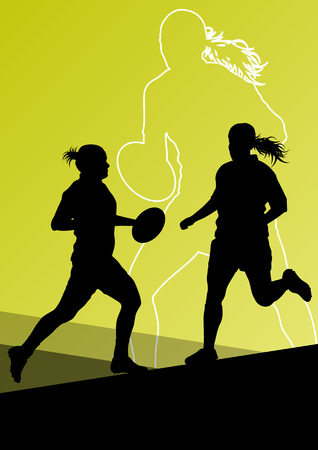 tough girl: Rugby player active young women sport silhouettes abstract background vector illustration