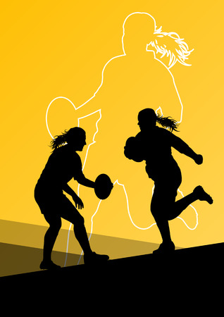 women sport: Rugby player active young women sport silhouettes abstract background vector illustration
