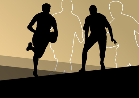 sports training: Rugby player active young men sport silhouettes abstract background vector illustration