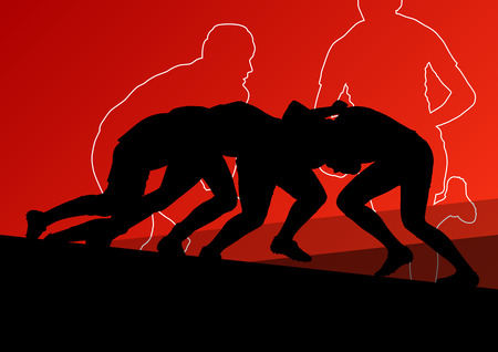 pelota de rugby: El jugador de rugby hombres jóvenes deporte siluetas activas de fondo abstracto ilustración vectorial