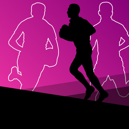tough man: Rugby player active young men sport silhouettes abstract background vector illustration