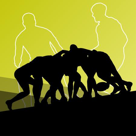 pelota rugby: El jugador de rugby hombres j�venes deporte siluetas activas de fondo abstracto ilustraci�n vectorial