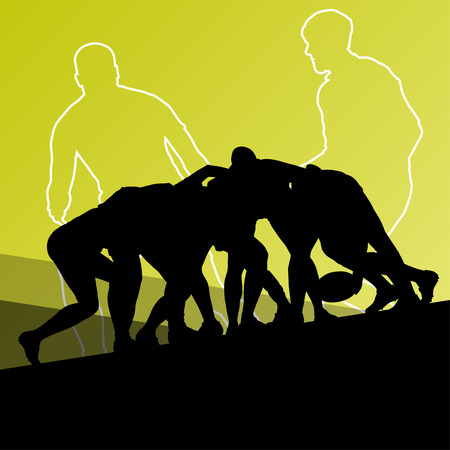 rugby field: Rugby player active young men sport silhouettes abstract background vector illustration