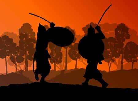 crusader: Medieval warrior, crusader vector background Illustration