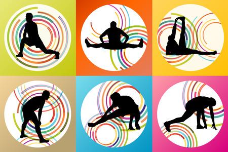 ストレッチ体操ウォーミング アップやトレーニングの男設定ベクトル背景コンセプト  イラスト・ベクター素材