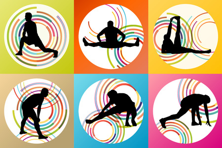 warming up: Man stretching exercise warming up and training set vector background concept Illustration