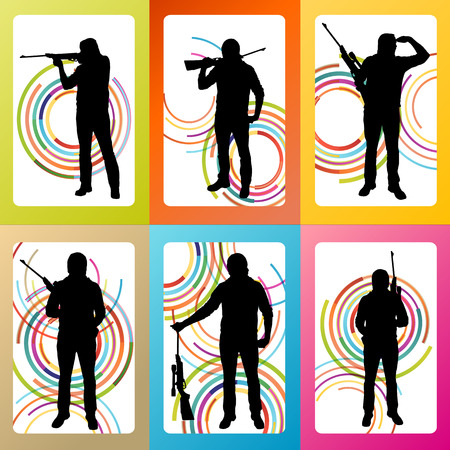 man gun: Hunter silhouette set vector background concept for poster Illustration