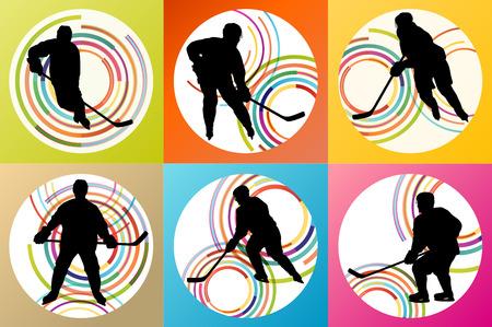 hockey skates: Ice hockey player silhouette set vector background concept Illustration