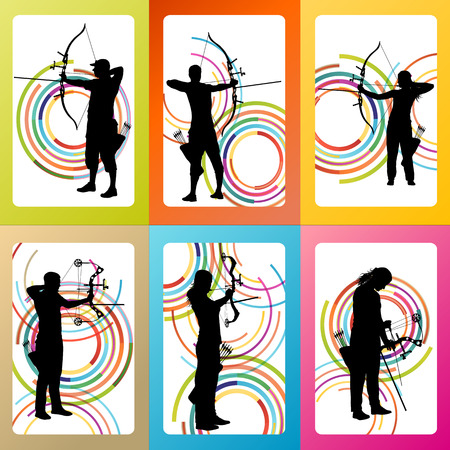 Archer with bow set vector background concept for poster