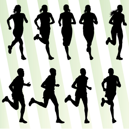Marathon runners detailed active illustration silhouettes collection background vector set