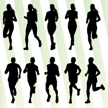 marathon runner: Marathon runners detailed active illustration silhouettes collection background vector set