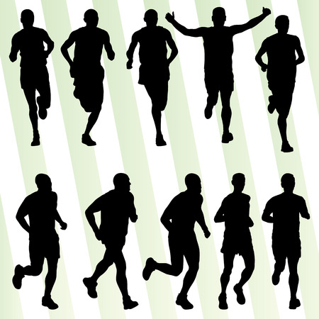 road runner: Marathon runners detailed active illustration silhouettes collection background vector set