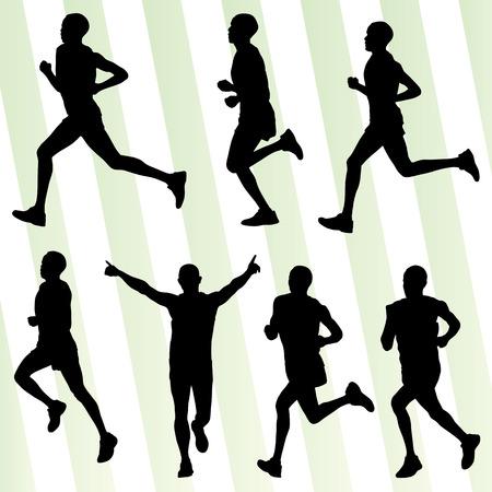 coureur: Les coureurs de marathon d�taill�es silhouettes illustration actifs vecteur collection fond ensemble