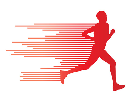Man runner silhouette vector background template concept made of stripes Çizim