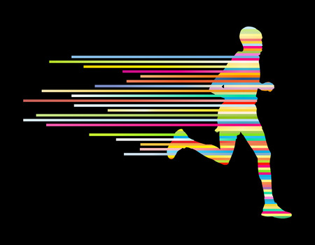 Man runner silhouette vector background template concept made of stripes Vectores