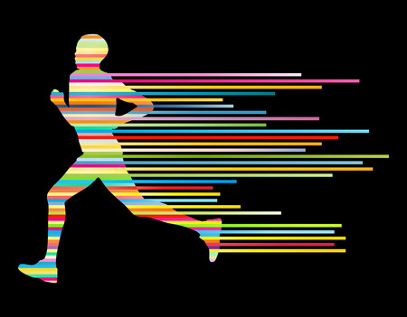strong men: Man runner silhouette vector background template concept made of stripes Illustration