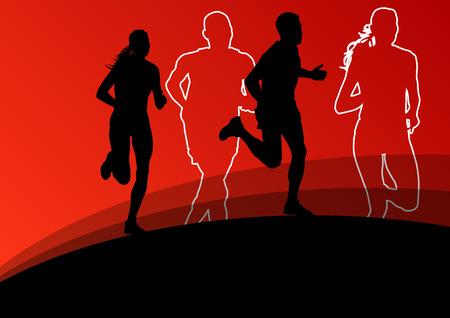 atleta corriendo: Activo atletismo deporte running siluetas ilustración vectorial
