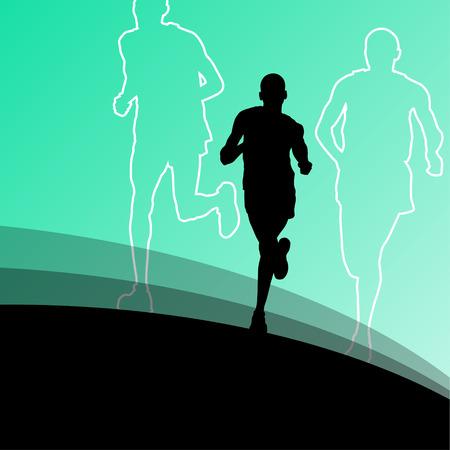 Active runner sport athletics running silhouettes illustration background vector