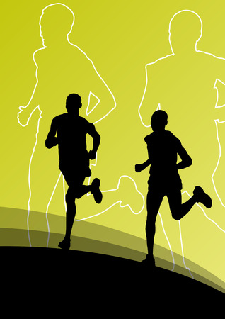 pentathlon: Active runner sport athletics running silhouettes illustration background vector
