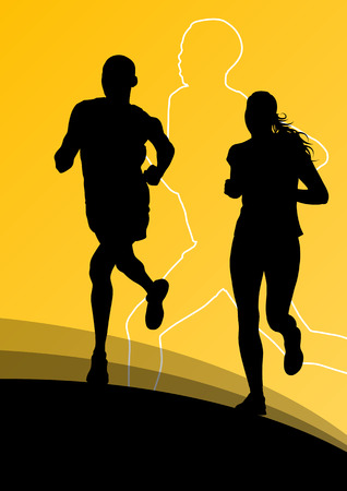 shadow people: Active runner sport athletics running silhouettes illustration background vector