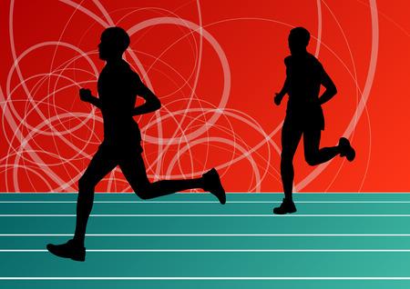 decathlon: Active runner sport athletics running silhouettes illustration background vector