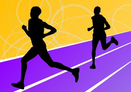Active runner sport athletics running silhouettes illustration background vector
