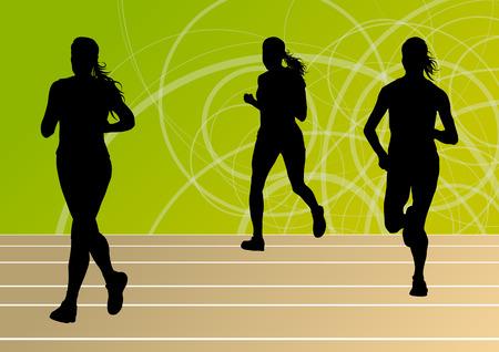 pentathlon: Active runner sport athletics running silhouettes illustration background vector