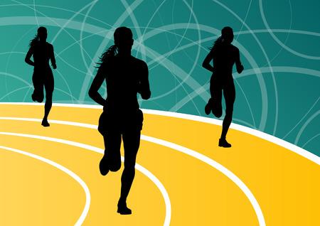 road runner: Active runner sport athletics running silhouettes illustration background vector