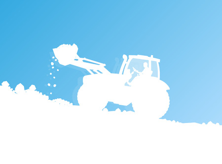 Tractor cleaning snow vector background concept for poster Vector