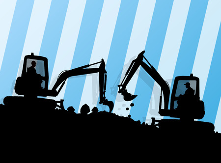 hydraulic: Excavator loader hydraulic machine tractor and worker digging at industrial construction site vector abstract background Illustration