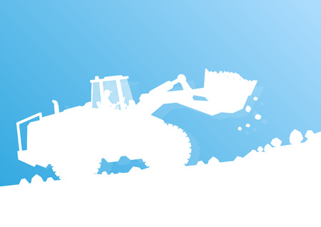 wheeled tractor: Tractor cleaning snow vector background concept for poster