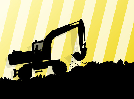 Excavator loader hydraulic machine tractor and worker digging at industrial construction site vector abstract background