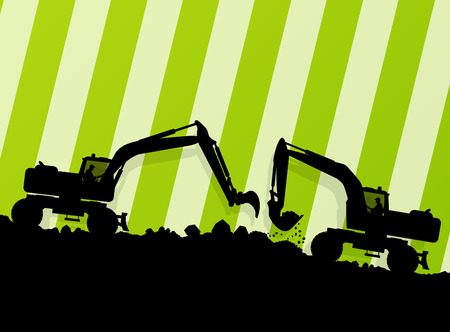 industrial machine: Excavator loader hydraulic machine tractor and worker digging at industrial construction site vector abstract background Illustration